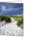 Footprint Greeting Cards - Sand Dune under Storm Greeting Card by Olivier Le Queinec