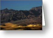Mountain Ranges Greeting Cards - Sand Dunes - Death Valleys Gold Greeting Card by Christine Till