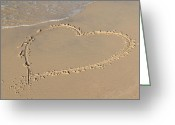 Marry Greeting Cards - Sand heart Greeting Card by Marta Holka