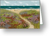 Beach Umbrella Painting Greeting Cards - Sand Path Greeting Card by Katherine Young-Beck