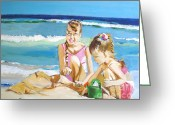 Beach Art Greeting Cards - Sand Sea and Sisters Greeting Card by Judy Kay