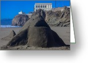 Fun Greeting Cards - Sand shark at Cliff House Greeting Card by Garry Gay