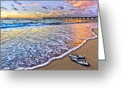 Flip Greeting Cards - Sandals Greeting Card by Debra and Dave Vanderlaan