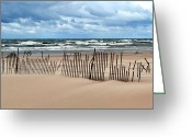 Board Fence Greeting Cards - Sandblasted Greeting Card by Michelle Calkins