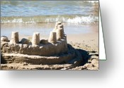 Custom Art Photo Greeting Cards - Sandcastle  Greeting Card by Lisa Knechtel