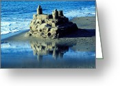 Memories Greeting Cards - Sandcastle on beach Greeting Card by Garry Gay