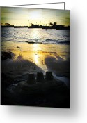 Sandcastle Greeting Cards - Sandcastle Sunset Greeting Card by Ariane Moshayedi