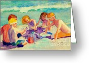 Playing On Beach Greeting Cards - Sandcastles Greeting Card by Patricia Huff