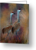 Migrating Bird Greeting Cards - Sandhill Crane Duet Greeting Card by Dee Carpenter