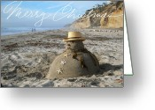 San Diego Greeting Cards - Sandman Snowman Greeting Card by Mary Helmreich