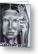 Flyers Drawings Greeting Cards - Sandra Bullock Greeting Card by Rick Hill