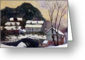 Snow Capped Greeting Cards - Sandviken Norway Greeting Card by Claude Monet
