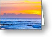 Illustrative Greeting Cards - Sandy beach sunrise Greeting Card by Daniel K
