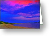 Moonrise Digital Art Greeting Cards - Sandy Hook NJ Moonrise Greeting Card by Linnea Tober