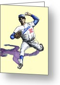 Baseball Drawings Greeting Cards - Sandy Koufax Greeting Card by Mel Thompson