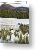 Baxter Park Greeting Cards - Sandy Stream Pond view of Baxter Peak in Baxter State Park Maine Greeting Card by Brendan Reals