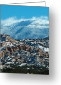 Taos Drawings Greeting Cards - Sangre de Christos in Winter Greeting Card by Tim McCarthy