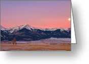Fault Block Greeting Cards - Sangre De Cristo Moon Greeting Card by Paul Gana