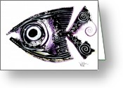 Aboriginal Art Painting Greeting Cards - Sanity Fish IX Greeting Card by J Vincent Scarpace