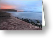 Sea Scape  Greeting Cards - Santa Barbara beach Greeting Card by Gaspar Avila