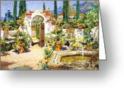 Barbara Painting Greeting Cards - Santa Barbara Courtyard Greeting Card by Pg Reproductions