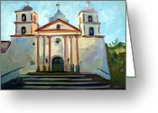 Impressionist Mixed Media Greeting Cards - Santa Barbara Mission Greeting Card by Filip Mihail