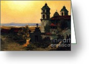 Barbara Painting Greeting Cards - Santa Barbara Mission Greeting Card by Pg Reproductions