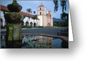 Landscape Framed Prints Greeting Cards - Santa Barbara Mission with Fountain 2 Greeting Card by Kathy Yates