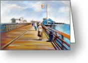 Ocean Landscape Pastels Greeting Cards - Santa Barbara Pier Greeting Card by Filip Mihail