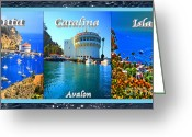 Wrigley Greeting Cards - Santa Catalina Island Triptych Greeting Card by Cheryl Young