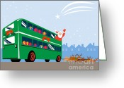 Coach Greeting Cards - Santa Claus Double Decker Bus Greeting Card by Aloysius Patrimonio
