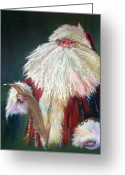 Christmas Pastels Greeting Cards - SANTA CLAUS  Making a List and Checking it Twice Greeting Card by Shelley Schoenherr