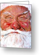 Winter Prints Greeting Cards - Santa Claus Greeting Card by Tom Roderick