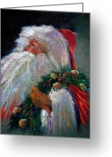Oil Pastel Greeting Cards - SANTA CLAUS with Sleigh Bells and Wreath  Greeting Card by Shelley Schoenherr