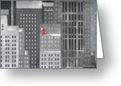 Snowing Greeting Cards - Santa Clause Running On A Skyscraper Greeting Card by Jutta Kuss