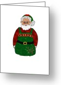 Decor Floral Picture Cards Greeting Cards - Santa Greeting Card by Corey Ford