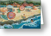Rides Greeting Cards - Santa Cruz Beach Boardwalk Greeting Card by Jen Norton