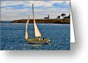 Sailing Ships Greeting Cards - Santa Cruz Mark Abbott Memorial Lighthouse CA  Greeting Card by Christine Till