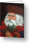 Oil Painting Greeting Cards - Santa Greeting Card by Enzie Shahmiri