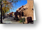Elizabeth Rose Greeting Cards - Santa Fe Art Museum Street Scene Greeting Card by Elizabeth Rose