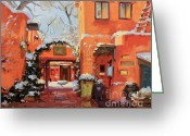 Adobe Architecture Greeting Cards - Santa Fe Cafe Greeting Card by Gary Kim