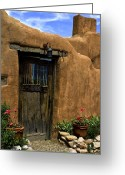 Entrance Door Greeting Cards - Santa Fe Canyon  road Greeting Card by Elena Nosyreva