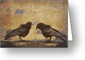Santa Fe Greeting Cards - Santa Fe Crows Greeting Card by Carol Leigh