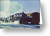 Santa Fe Digital Art Greeting Cards - Santa Fe out of Corwith Yard Greeting Card by Dale Jackson