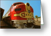 Photo-realism Digital Art Greeting Cards - Santa Fe Railroad - Historic Train Greeting Card by Peter Art Prints Posters Gallery