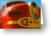 Photo-realism Digital Art Greeting Cards - Santa Fe Railroad Greeting Card by Peter Art Prints Posters Gallery