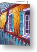 Adobe Pastels Greeting Cards - Santa Fe Shutters Greeting Card by Candy Mayer