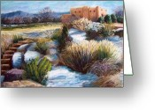 Adobe Pastels Greeting Cards - Santa Fe Spring Greeting Card by Candy Mayer
