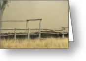 Wood Fences Greeting Cards - Santa Gertrudis Cattle Create A Dust Greeting Card by Jason Edwards