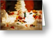 Snowy Night Greeting Cards - Santa in town Greeting Card by Sun Wu